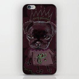 Pug Princess iPhone Skin
