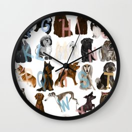 Dog Alphabet Wall Clock