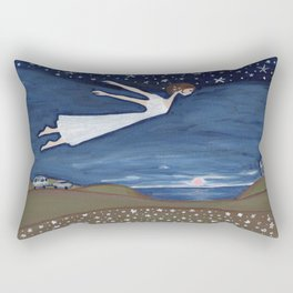 Flying Girl Remembers Her Dreams, or Night Blooming Rectangular Pillow