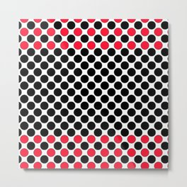 BLACK&RED POLKA DOTS Metal Print