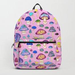 Watercolor Mushroom Pattern on Pink Backpack