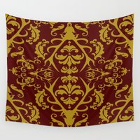 lannister Wall Tapestries featuring Stag Damask in Red and Gold by Molly Lee