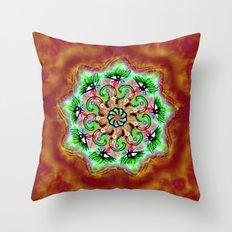 Spider Eye Mandala - Red BG Throw Pillow