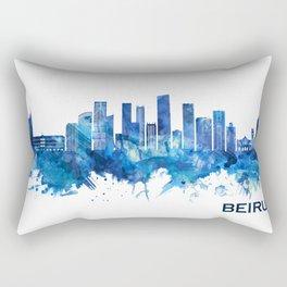 Beirut Lebanon Skyline Blue Rectangular Pillow