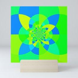 Green & Turquoise Kaleidoscope Design Mini Art Print