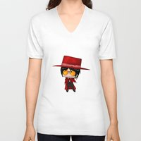 chibi V-neck T-shirts featuring Chibi Alucard by artwaste
