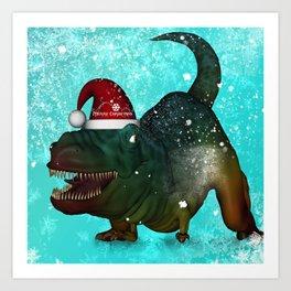 T-rex, merry christmas Art Print