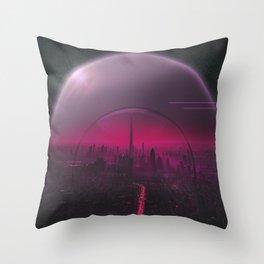 Cyber Punk Planet Throw Pillow