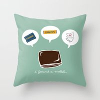 wallet Throw Pillows featuring Wallet by Corrie Liotta