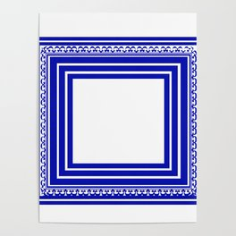 Blue and White Lines Geometric Abstract Pattern Poster