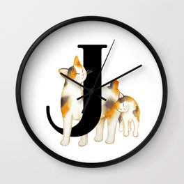 Cat Monogram Collection J Wall Clock