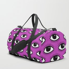 Eyes pattern on pink background Duffle Bag