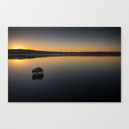 Boat on Knysna lagoon at Sunrise Canvas Print