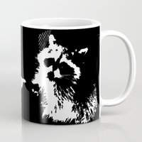 rocket raccoon Mugs featuring Tough Raccoon by Pennyflip