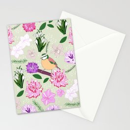 Joyful spring pink toned floral pattern with bird Stationery Cards