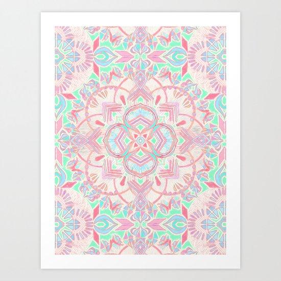 Mint and Blush Pink Painted Mandala Art Print