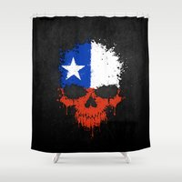 chile Shower Curtains featuring Flag of Chile on a Chaotic Splatter Skull by Jeff Bartels