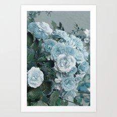 A cloud of blue roses Art Print