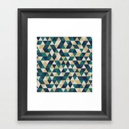 Foggy Petrol and Blue - Hipster Geometric Triangle Pattern Framed Art Print