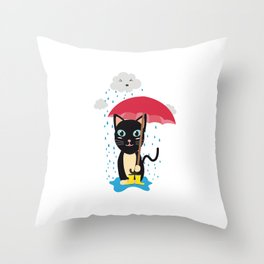 Cat in the rain with Umbrella Throw Pillow