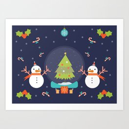 Day 01/25 Advent - Frosty meets his match Art Print