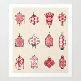Chinese Lanterns Doodle Art Print