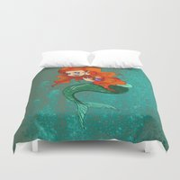 little mermaid Duvet Covers featuring Little Mermaid by Laura Bou