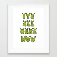 shrek Framed Art Prints featuring It's All Ogre Now by Al's Visions