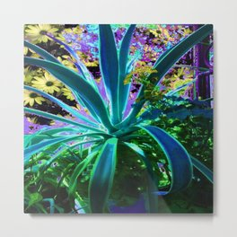 GRACEFUL BLUE-GREEN AGAVE & YELLOW DAISIES FLORAL ART Metal Print