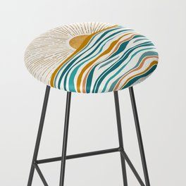 The Sun and The Sea - Gold and Teal Bar Stool