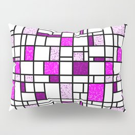Modern Art Pink and Purple Speckled Grid Pattern Pillow Sham