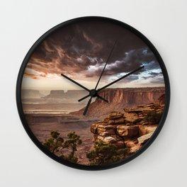 dramatic sky in moab Wall Clock