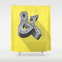 ampersand Shower Curtains featuring ampersand by dennis field