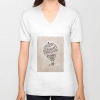 ballon V-neck T-shirts featuring Hot Air Ballon by violart