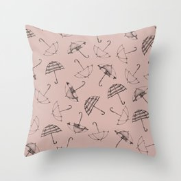 Scattered Umbrella's in Putty Pink Throw Pillow