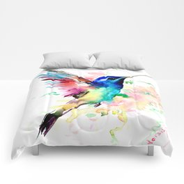 Hummingbird , Blue Turquoise Pink Comforters