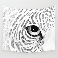 jaguar Wall Tapestries featuring Jaguar Face by Hannighan