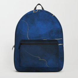 Kintsugi Electric Blue #blue #gold #kintsugi #japan #marble #watercolor #abstract Backpack