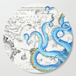 Blue Tentacles Vintage Map Ink Chic Cutting Board