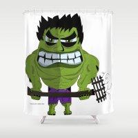 hulk Shower Curtains featuring Hulk by ramyrdesign