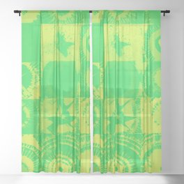 Color Explosion Green and Yellow Version Sheer Curtain