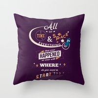 doctor who Throw Pillows featuring Time and Space by Risa Rodil