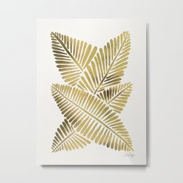 Tropical Banana Leaves – Gold Palette Metal Print