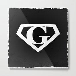 White Letter G Symbol Metal Print