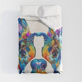Colorful Boston Terrier Dog Pop Art - Sharon Cummings Duvet Cover