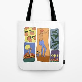 orange moon large Tote Bag