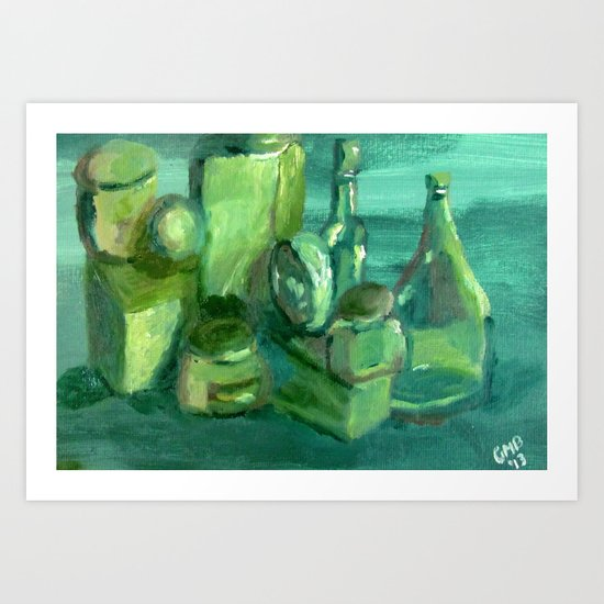 Still Life Study in Green Art Print