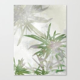 Olive Green Palm Leaves Watercolor Painting Canvas Print