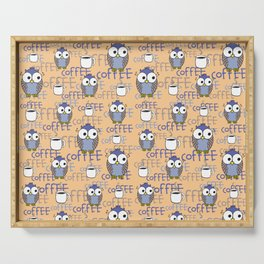 Orange & Blue Owls pattern Serving Tray