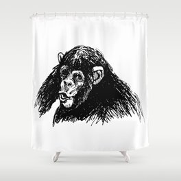 Hand sketch of a young chimpanzee Shower Curtain